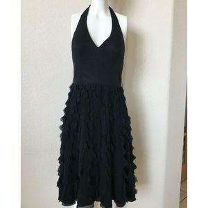 White House Black Market Halter Dress SILK Fringe